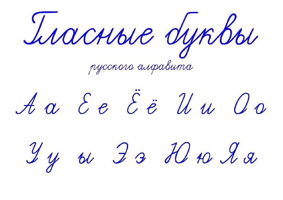 Гласные буквы русского алфавита прописью